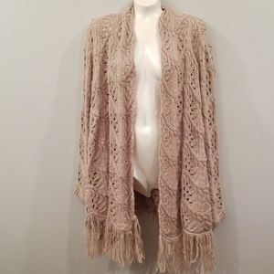 Beige Crochet Sweater with Fringe.